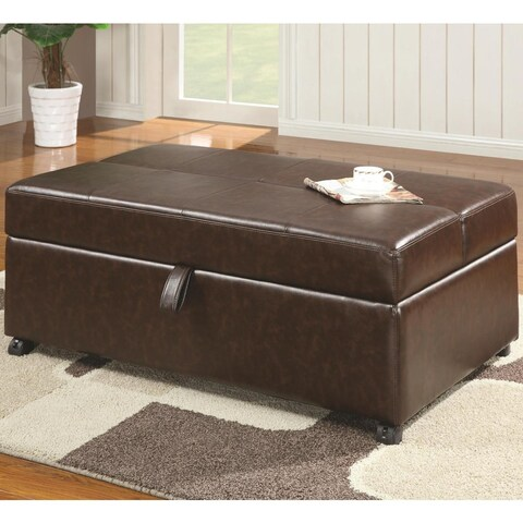 Coulson Brown Bonded Leather Sleeper and Ottoman