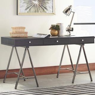 Joyce Black Wood 3-drawer Writing Desk