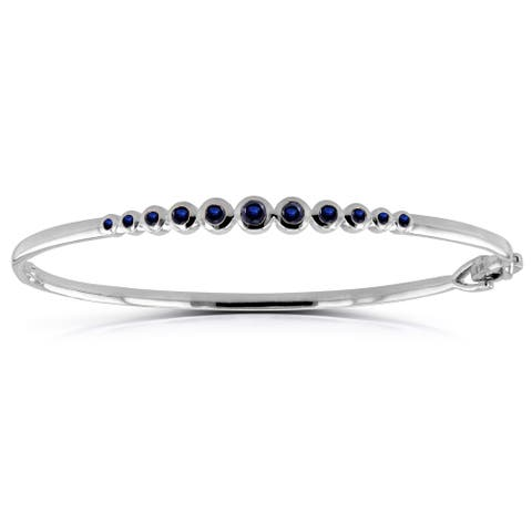 Annello by Kobelli 10k White Gold 3/4ct Round Bezel Blue Sapphire Small Bangle