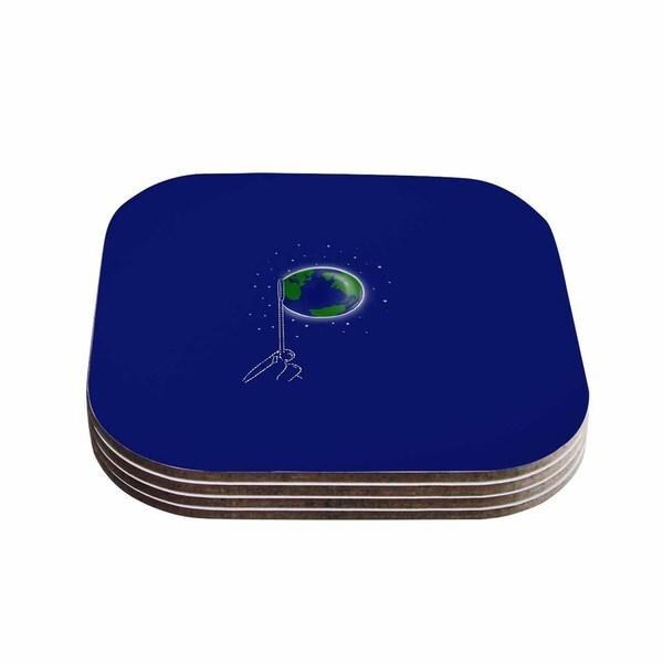 Kess InHouse BarmalisiRTB 'Bubble' Blue White Coasters (Set of 4)