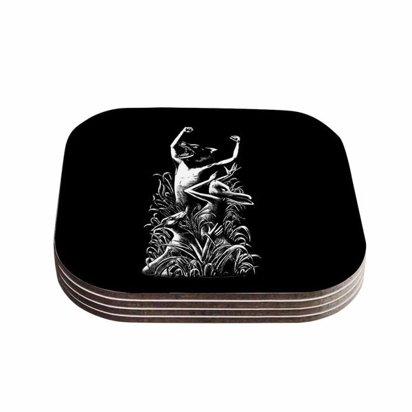 Kess InHouse BarmalisiRTB 'The Leader' Black White Coasters (Set of 4)