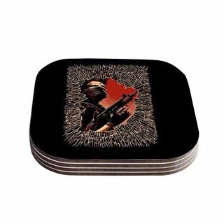Kess InHouse Barmalisirtb 'War Is Over' Black Red Coasters (Set of 4)