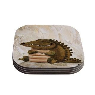Kess InHouse Rachel Kokko 'Smiley Crocodiley' Tan Green Coasters (Set of 4)