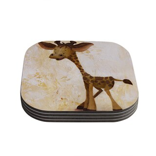 Kess InHouse Rachel Kokko 'Georgey The Giraffe' Brown Tan Coasters (Set of 4)
