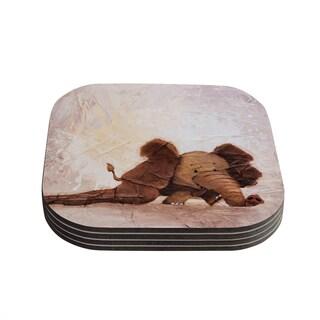 Kess InHouse Rachel Kokko 'The Elephant with the Long Ears' Coasters (Set of 4)