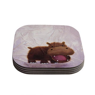 Kess InHouse Rachel Kokko 'The Happy Hippo' Coasters (Set of 4)