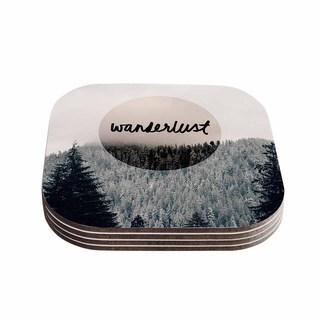 Kess InHouse Robin Dickinson 'Wanderlust' Gray Black Coasters (Set of 4)