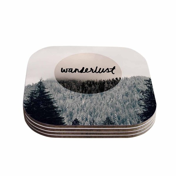 Kess InHouse Robin Dickinson 'Wanderlust' Gray Black Coasters (Set of 4)