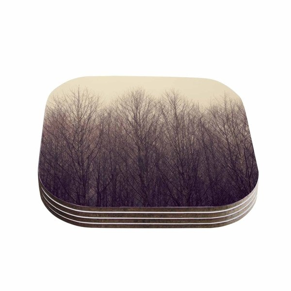Kess InHouse Robin Dickinson 'Forest' Beige Brown Coasters (Set of 4)
