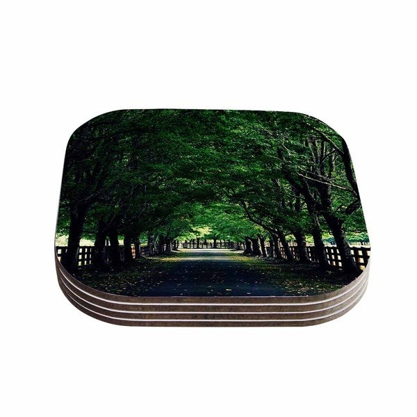 Kess InHouse Robin Dickinson 'Welcome Home' Green Trees Coasters (Set of 4)