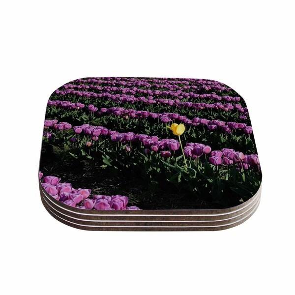Kess InHouse Robin Dickinson 'You're One Of A Kind' Purple Green Coasters (Set of 4)