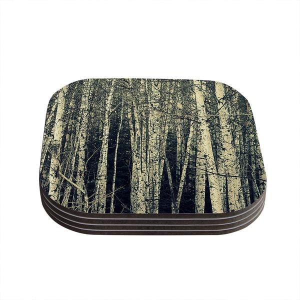 Kess InHouse Robin Dickinson 'Birch' Beige Tan Coasters (Set of 4)