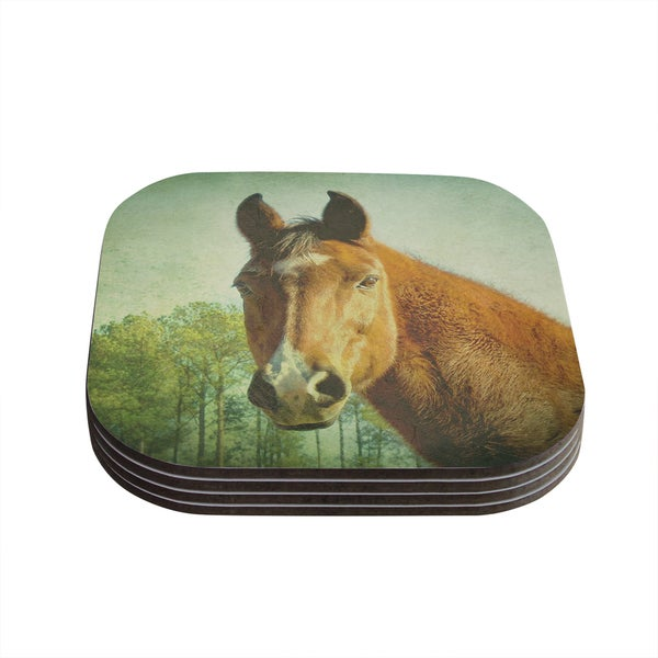 Kess InHouse Robin Dickinson 'CT' Green Brown Coasters (Set of 4)
