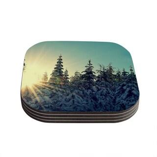 Kess InHouse Robin Dickinson 'Shine Bright' Snowy Trees Coasters (Set of 4)