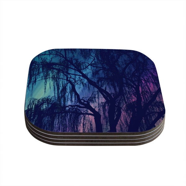 Kess InHouse Robin Dickinson 'Weeping' Purple Tree Coasters (Set of 4)
