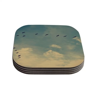 Kess InHouse Robin Dickinson 'Pterodactyls' Blue Tan Coasters (Set of 4)