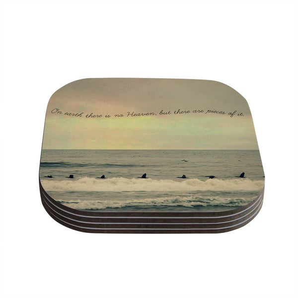 Kess InHouse Robin Dickinson 'Pieces of Heaven' Tan Beach Coasters (Set of 4)