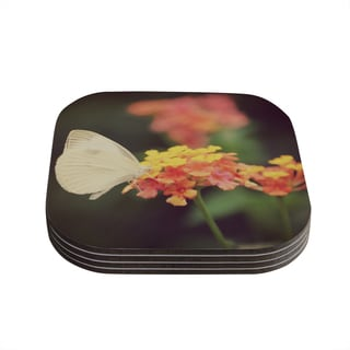 Kess InHouse Robin Dickinson 'Captivating' Orange Flower Coasters (Set of 4)