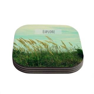 Kess InHouse Robin Dickinson 'Explore' Quote Green Coasters (Set of 4)