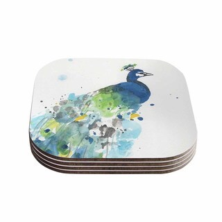 Kess InHouse Rebecca Bender 'Abstract Watercolor Peacock' Blue Teal Coasters (Set of 4)