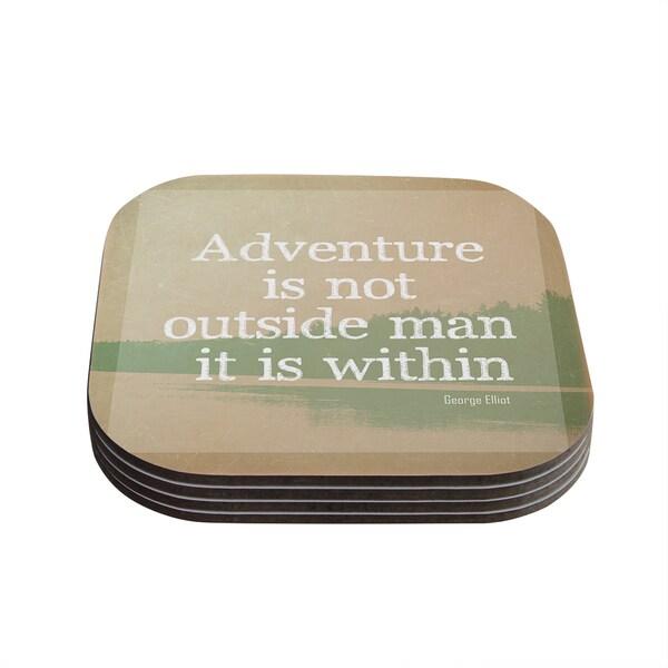 Kess InHouse Rachel Burbee 'Adventure' Nature Typography Coasters (Set of 4)