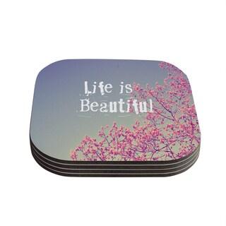 Kess InHouse Rachel Burbee 'Life is Beautiful' Coasters (Set of 4)