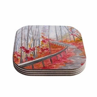 Kess InHouse Rosie Brown 'Amicalola Falls' Orange Gray Coasters (Set of 4)