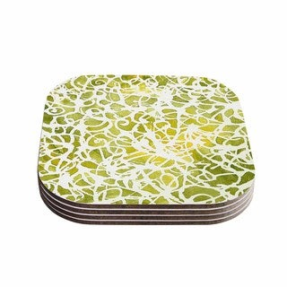 Kess InHouse Rosie Brown 'Spiral' Green Abstract Coasters (Set of 4)