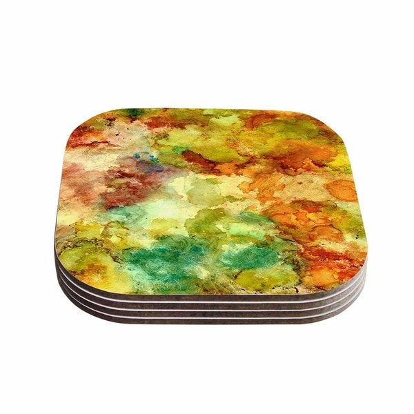 Kess InHouse Rosie Brown 'Fall Bouqet' Yellow Orange Coasters (Set of 4)