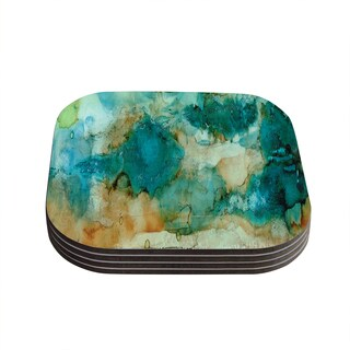 Kess InHouse Rosie Brown 'Waterfall' Teal Blue Coasters (Set of 4)