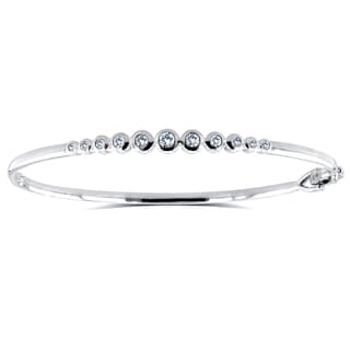 Annello by Kobelli 10k White Gold 1/2ct Round Bezel Diamond Bangle (H-I, I1-I2)