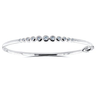 Annello by Kobelli 10k White Gold 1/2 Carat TDW Round Bezel Diamond Small Size Bangle
