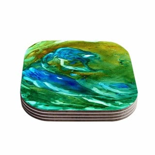 Kess InHouse Rosie Brown 'Hurricane' Green Blue Coasters (Set of 4)