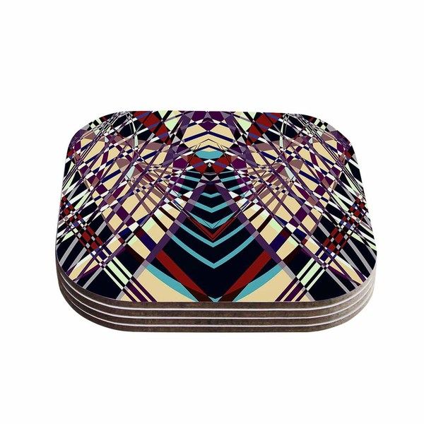 Kess InHouse Pia Schneider 'SWEEPING LINE PATTERN I-E' Multicolor Geometric Coasters (Set of 4)