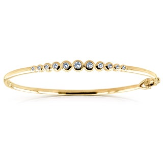 Annello by Kobelli 10k Yellow Gold 1/2ct Round Bezel Diamond Small Size Bangle