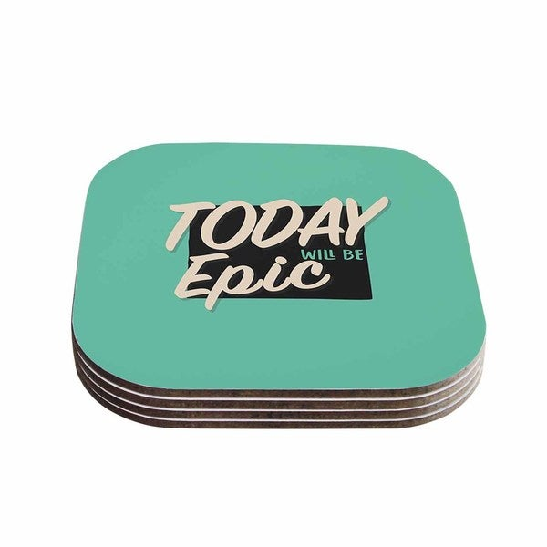 Kess InHouse Juan Paolo 'Epic Day' Vintage Teal Coasters (Set of 4)