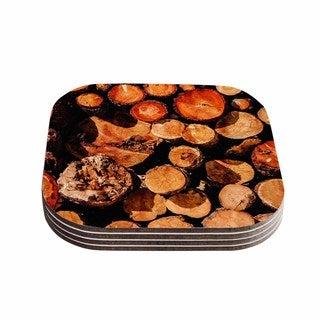 Kess InHouse Juan Paolo 'The Lumber Yard' Brown Orange Coasters (Set of 4)