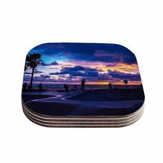 Kess InHouse Juan Paolo 'Dogtown' Multicolor Blue Coasters (Set of 4)