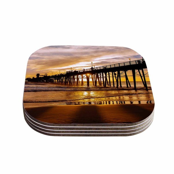 Kess InHouse Juan Paolo 'The Golden Hour' Gold Orange Coasters (Set of 4)