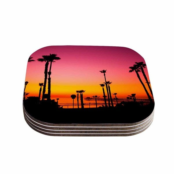 Kess InHouse Juan Paolo 'Pacific Dream' Magneta Orange Coasters (Set of 4)