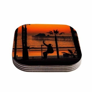 Kess InHouse Juan Paolo 'Endless Summer' Orange Black Coasters (Set of 4)