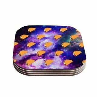 Kess InHouse Juan Paolo 'Taco Galaxy' Pink Purple Coasters (Set of 4)