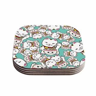 Kess InHouse Juan Paolo 'Ramen Cats' Teal White Coasters (Set of 4)