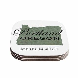 Kess InHouse Juan Paolo 'Portland Coordinates' Green White Coasters (Set of 4)
