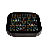 Kess InHouse Project M 'Sun Glasses at Night' Coasters (Set of 4)