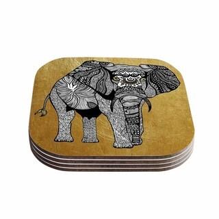 Kess InHouse Pom Graphic Design 'Golden Elephant' Coasters (Set of 4)