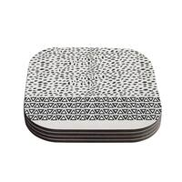 Kess InHouse Pom Graphic Design 'Wind Day' White Black Coasters (Set of 4)