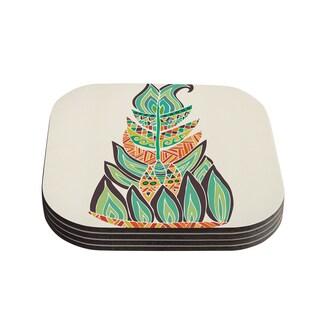 Kess InHouse Pom Graphic Design 'Tribal Feather' Green Orange Coasters (Set of 4)