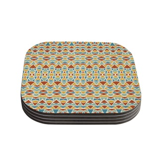 Kess InHouse Pom Graphic Design 'Tribal Imagination' Red Yellow Coasters (Set of 4)