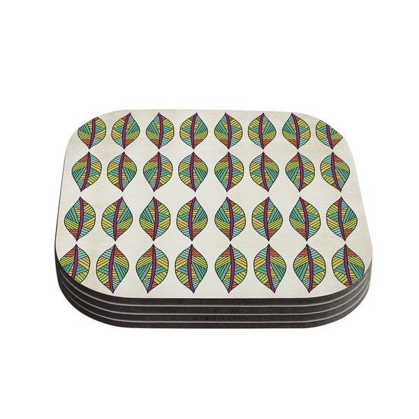 Kess InHouse Pom Graphic Design 'Tribal Leaves' Coasters (Set of 4)